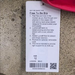 lululemon athletica Other - Free To Be Bra